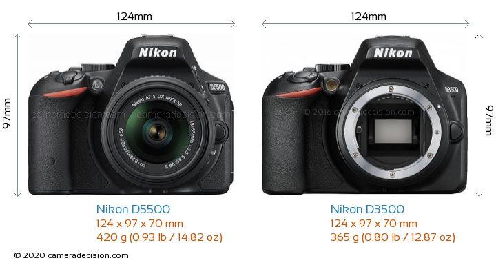 Nikon D5500 vs Nikon D3500 Camera Size Comparison - Front View