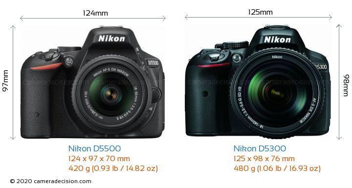 Nikon D5500 vs Nikon D5300 Camera Size Comparison - Front View