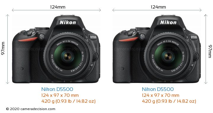 Nikon D5500 vs Nikon D5500 Camera Size Comparison - Front View