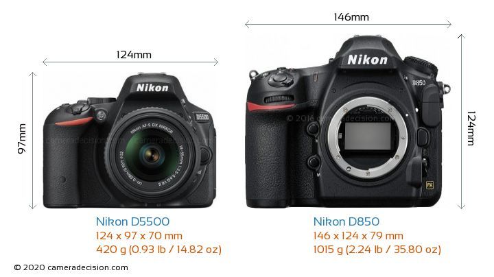 Nikon D5500 vs Nikon D850 Camera Size Comparison - Front View