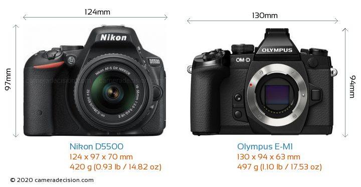 Nikon D5500 vs Olympus E-M1 Camera Size Comparison - Front View