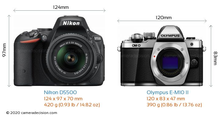 Nikon D5500 vs Olympus E-M10 II Camera Size Comparison - Front View