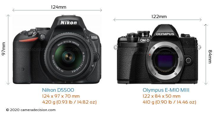 Nikon D5500 vs Olympus E-M10 MIII Camera Size Comparison - Front View