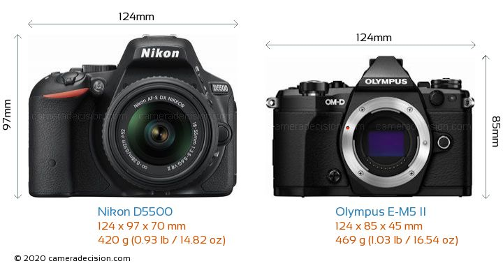 Nikon D5500 vs Olympus E-M5 II Camera Size Comparison - Front View