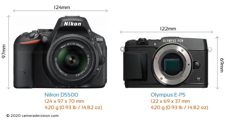 Nikon D5500 vs Olympus E-P5 Camera Size Comparison - Front View
