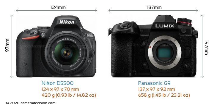 Nikon D5500 vs Panasonic G9 Camera Size Comparison - Front View