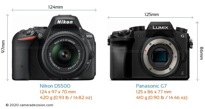 Nikon D5500 vs Panasonic G7 Camera Size Comparison - Front View