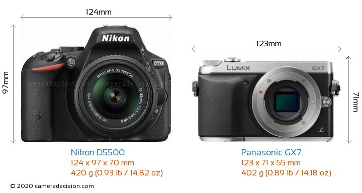 Nikon D5500 vs Panasonic GX7 Camera Size Comparison - Front View