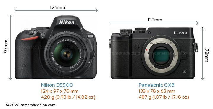 Nikon D5500 vs Panasonic GX8 Camera Size Comparison - Front View