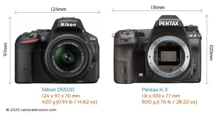 Nikon D5500 vs Pentax K-3 Camera Size Comparison - Front View