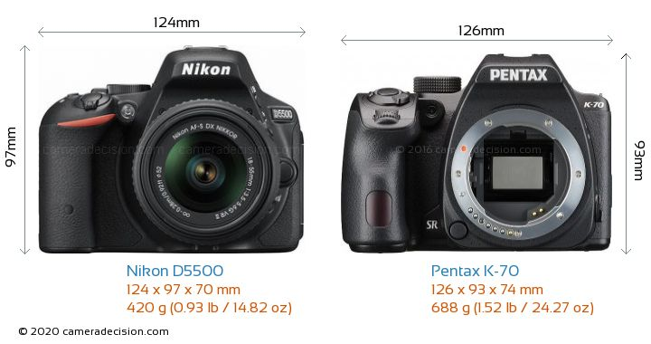 Nikon D5500 vs Pentax K-70 Camera Size Comparison - Front View