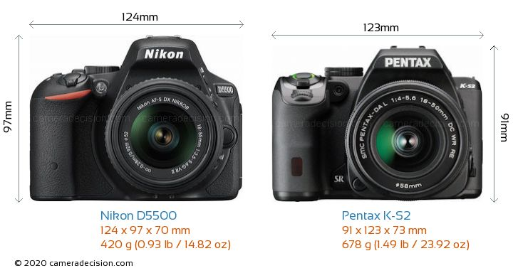 Nikon D5500 vs Pentax K-S2 Camera Size Comparison - Front View