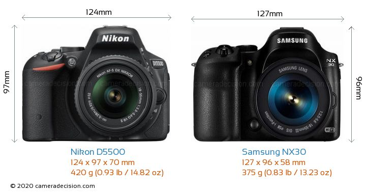 Nikon D5500 vs Samsung NX30 Camera Size Comparison - Front View