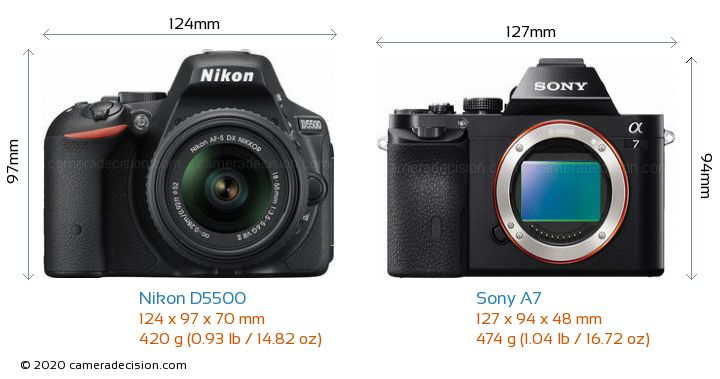 Nikon D5500 vs Sony A7 Camera Size Comparison - Front View