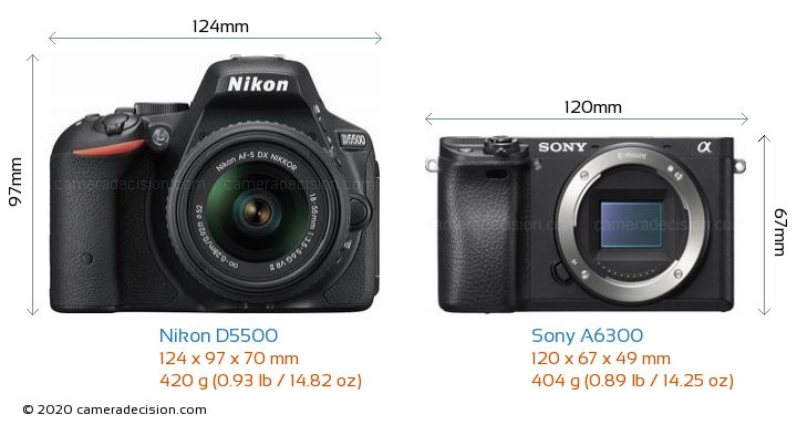 Nikon D5500 vs Sony A6300 Camera Size Comparison - Front View