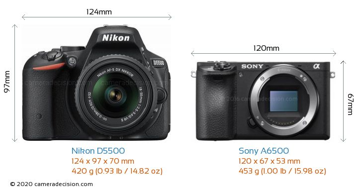 Nikon D5500 vs Sony A6500 Camera Size Comparison - Front View