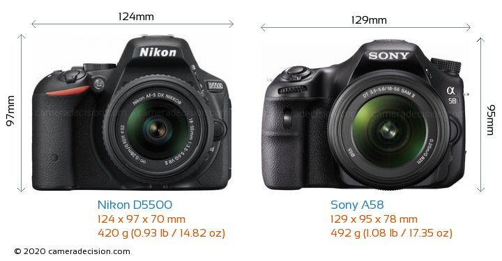 Nikon D5500 vs Sony A58 Camera Size Comparison - Front View