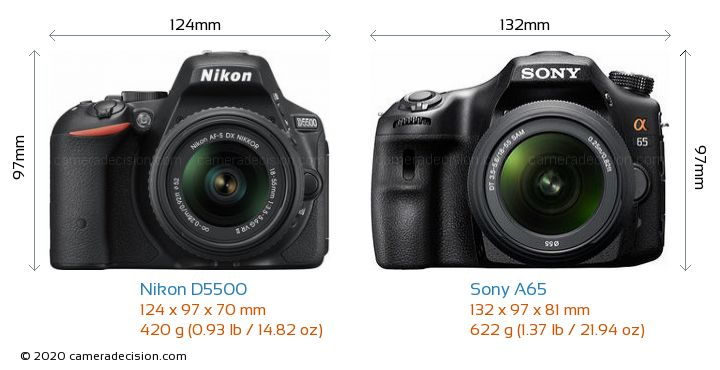 Nikon D5500 vs Sony A65 Camera Size Comparison - Front View