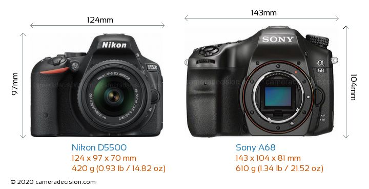 Nikon D5500 vs Sony A68 Camera Size Comparison - Front View
