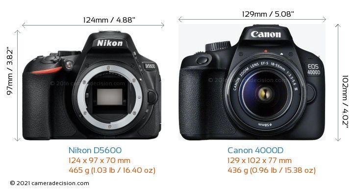 Nikon D5600 vs Canon 4000D Camera Size Comparison - Front View