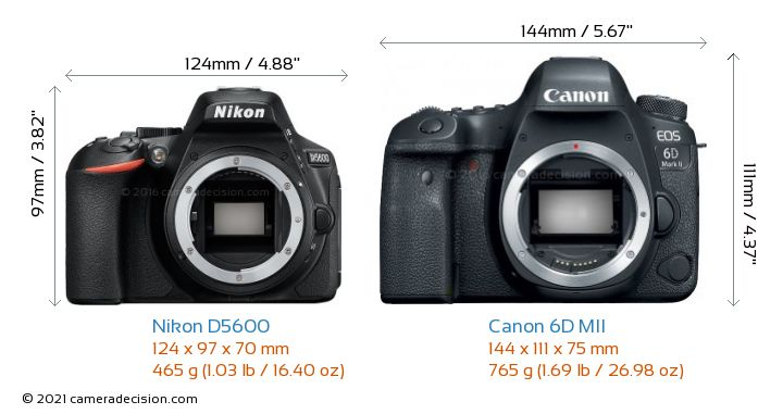 Nikon D5600 vs Canon 6D MII Camera Size Comparison - Front View