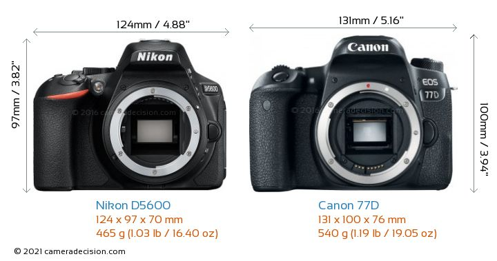 Nikon D5600 vs Canon 77D Camera Size Comparison - Front View