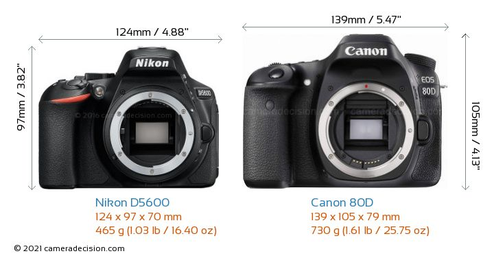 Nikon D5600 vs Canon 80D Camera Size Comparison - Front View
