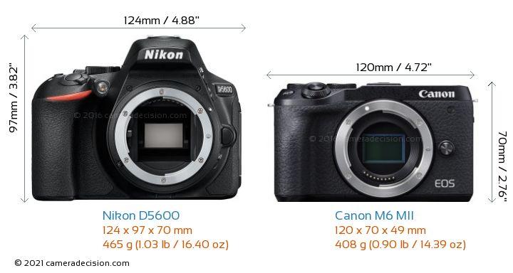 Nikon D5600 vs Canon M6 MII Camera Size Comparison - Front View