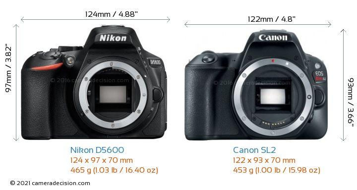 Nikon D5600 vs Canon SL2 Camera Size Comparison - Front View