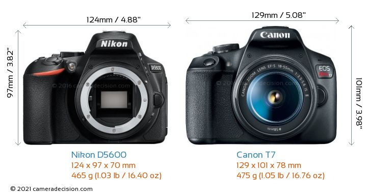 Nikon D5600 vs Canon T7 Camera Size Comparison - Front View