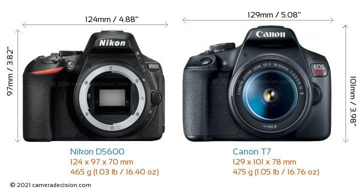 Nikon D5600 vs Canon T7 Camera Size Comparison - Front View