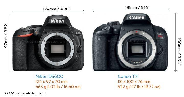 Nikon D5600 vs Canon T7i Camera Size Comparison - Front View