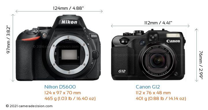 Nikon D5600 vs Canon G12 Camera Size Comparison - Front View