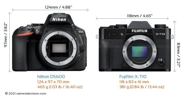 Nikon D5600 vs Fujifilm X-T10 Camera Size Comparison - Front View