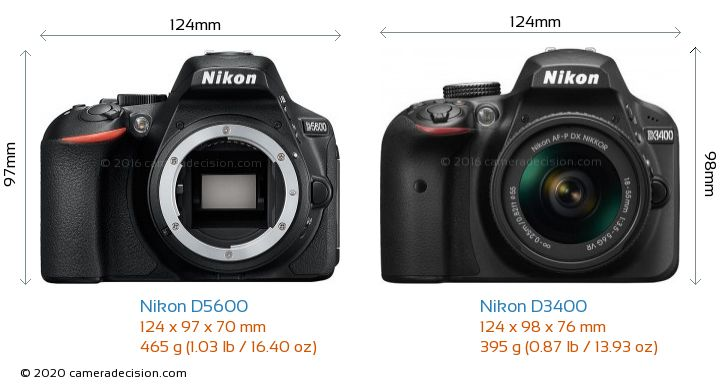 Nikon D5600 vs Nikon D3400 Camera Size Comparison - Front View