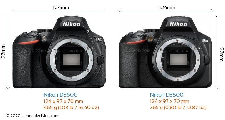 Nikon D5600 vs Nikon D3500 Camera Size Comparison - Front View
