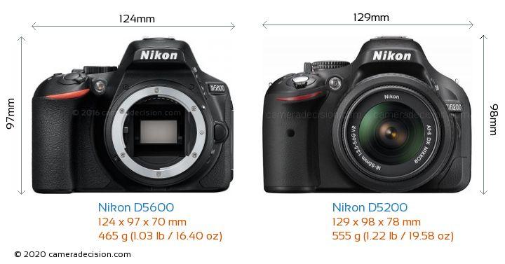 Nikon D5600 vs Nikon D5200 Camera Size Comparison - Front View