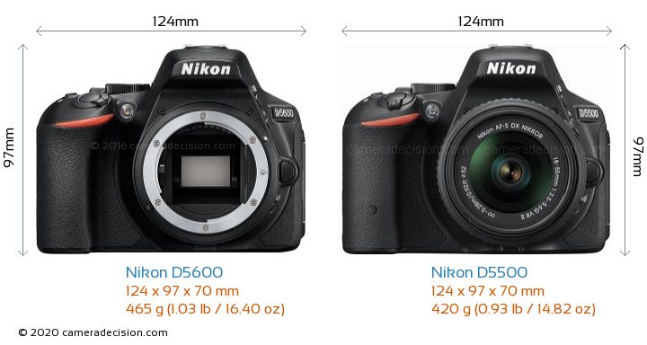 Nikon D5600 vs Nikon D5500 Camera Size Comparison - Front View