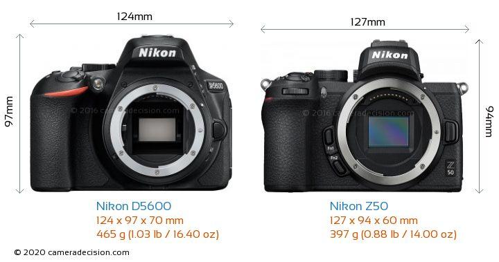 Nikon D5600 vs Nikon Z50 Camera Size Comparison - Front View