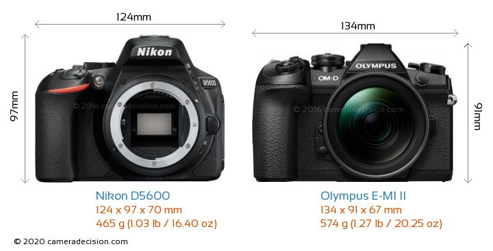 Nikon D5600 vs Olympus E-M1 II Camera Size Comparison - Front View