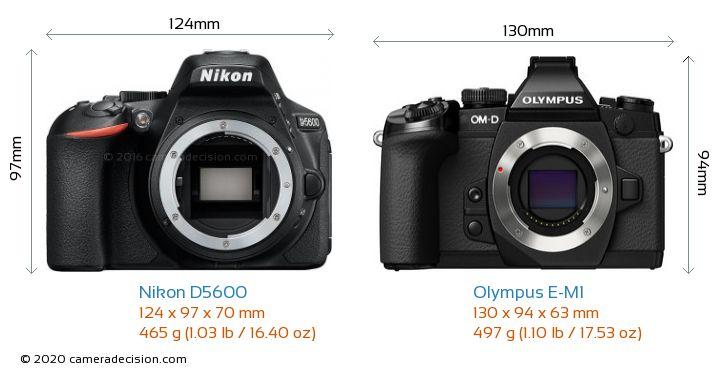 Nikon D5600 vs Olympus E-M1 Camera Size Comparison - Front View