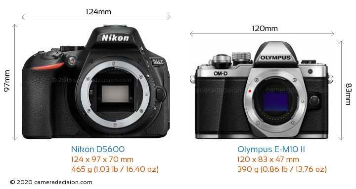 Nikon D5600 vs Olympus E-M10 II Camera Size Comparison - Front View