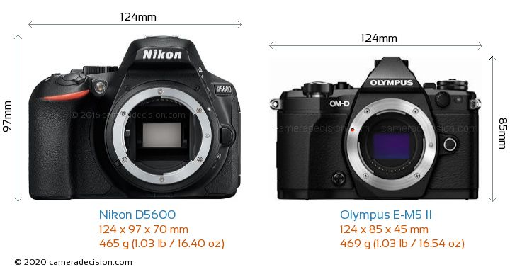 Nikon D5600 vs Olympus E-M5 II Camera Size Comparison - Front View