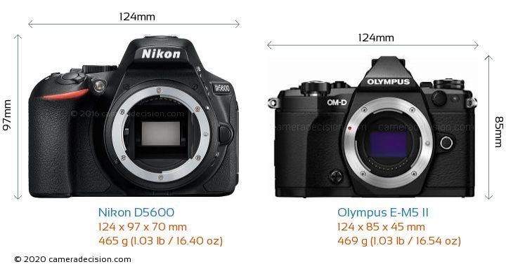 Nikon D5600 vs Olympus E-M5 II Camera Size Comparison - Front View