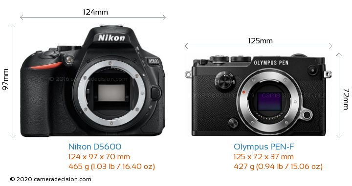 Nikon D5600 vs Olympus PEN-F Camera Size Comparison - Front View
