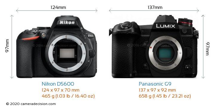 Nikon D5600 vs Panasonic G9 Camera Size Comparison - Front View