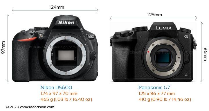 Nikon D5600 vs Panasonic G7 Camera Size Comparison - Front View