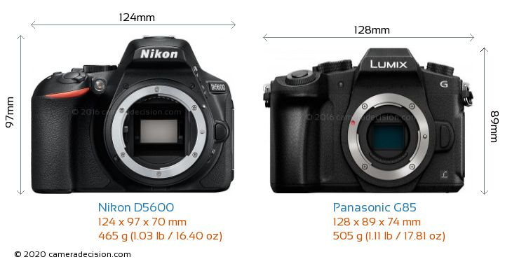 Nikon D5600 vs Panasonic G85 Camera Size Comparison - Front View