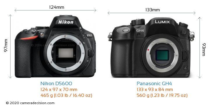 Nikon D5600 vs Panasonic GH4 Camera Size Comparison - Front View