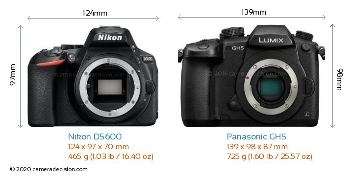 Nikon D5600 vs Panasonic GH5 Camera Size Comparison - Front View